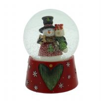 Hand Painted Musical Snow Globe ~ Snowman & Gift Sack ~ Plays Christmas Music!